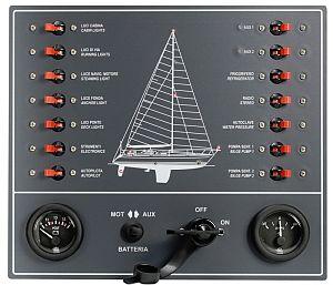 12 Volt Schalttafel mit 6 Schaltern und Sicherungen Schaltpanel